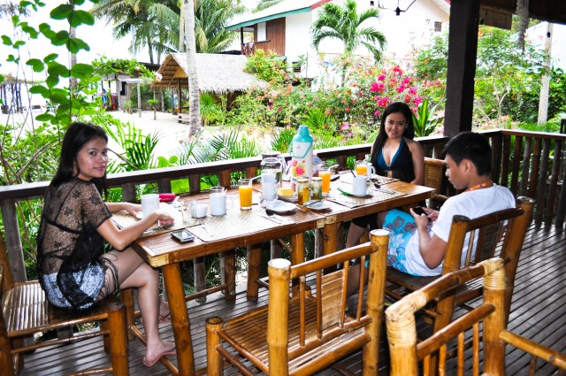 Having our breakfast at Bamboo Resort